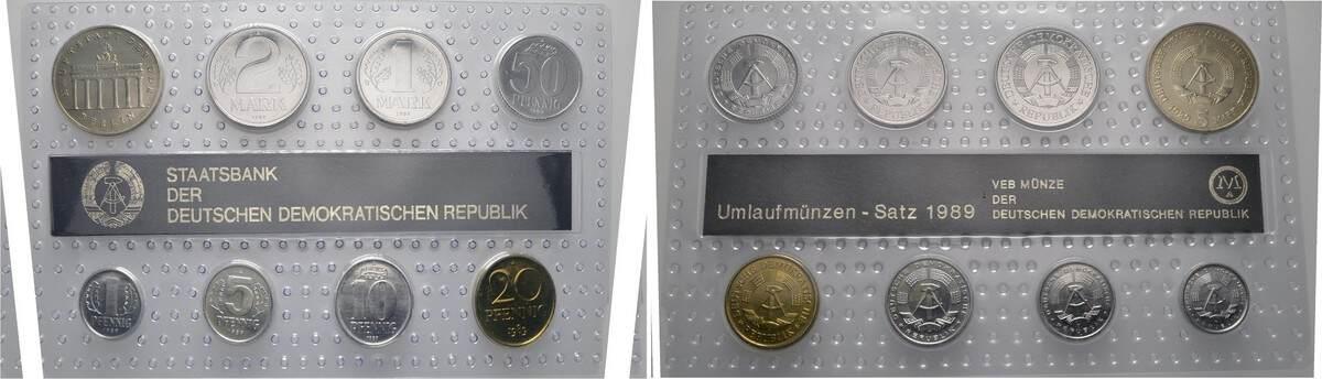 Münzsatz 1989. DEUTSCHE DEMOKRATISCHE REPUBLIK Stempelglanz (in Noppenfolie)