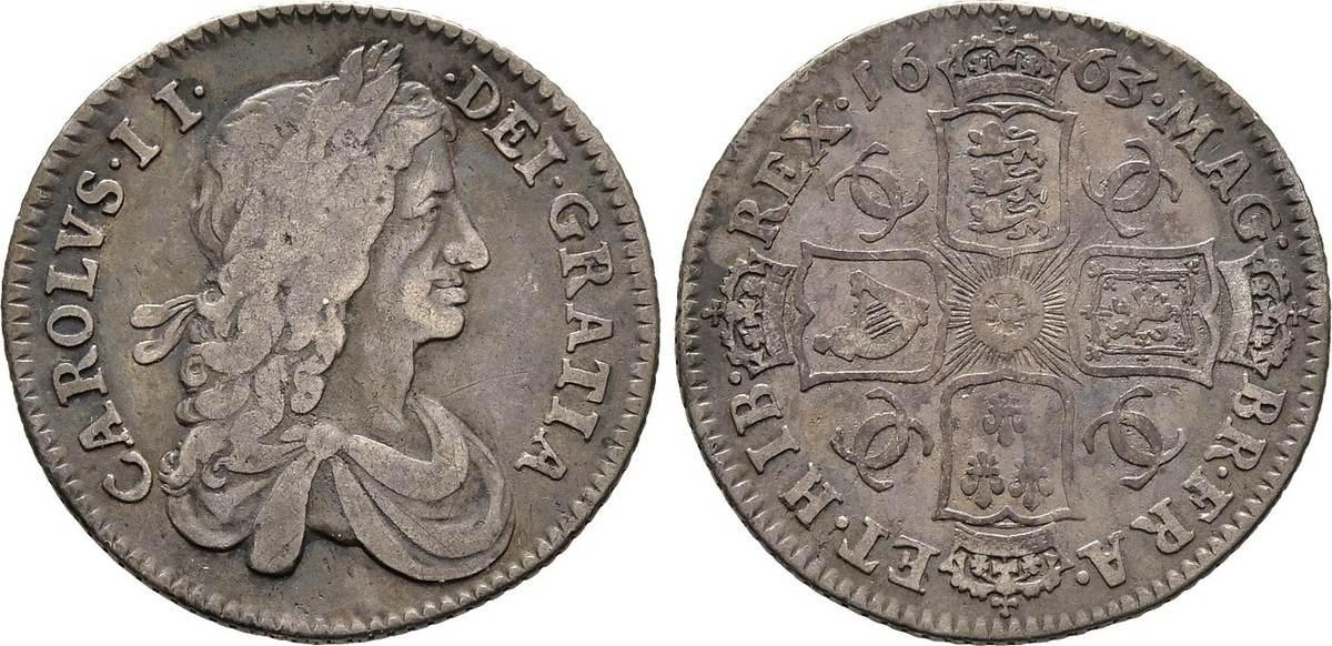 Shilling 1663, Grossbritannien Karl II., 1660-1685 Schön/Sehr schön