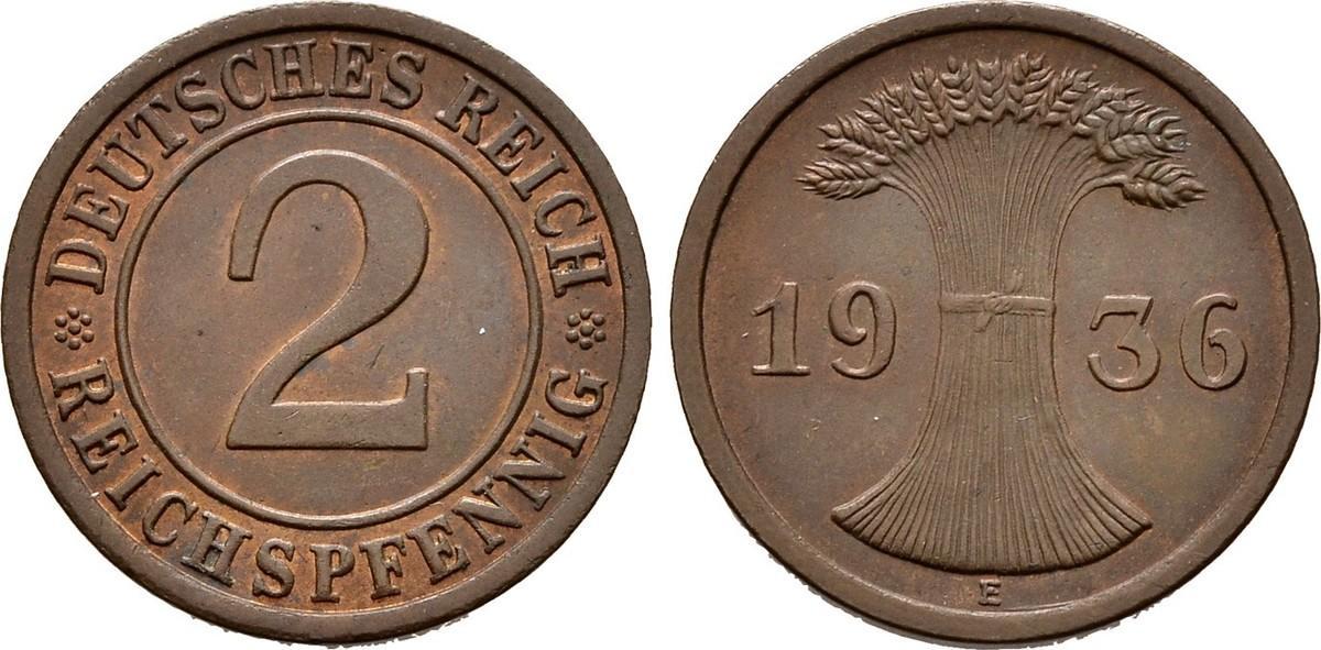 2 Pfennig 1936 E. WEIMARER REPUBLIK Vorzüglich +