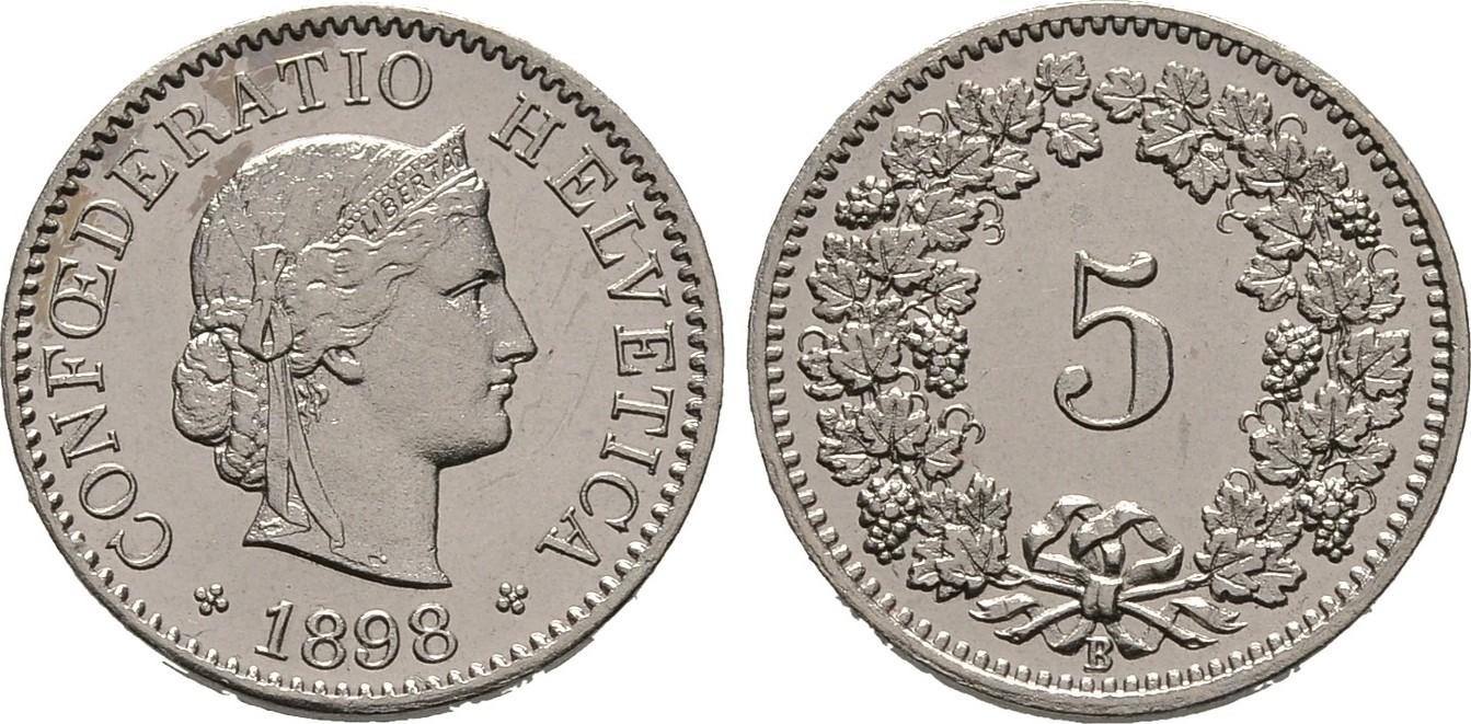 5 Rappen 1898 B, Schweiz Fast Stempelglanz
