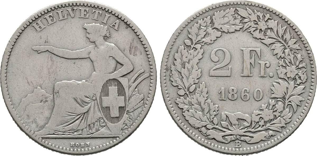 2 Franken 1860 B, Schweiz Sehr schön