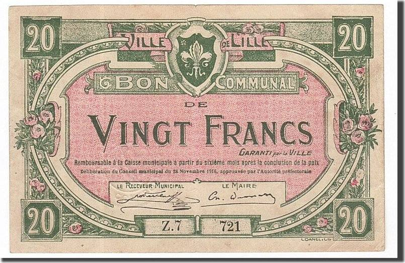 20 Francs 1916 Frankreich Lille, SS+, Pirot:59-1611 SS+