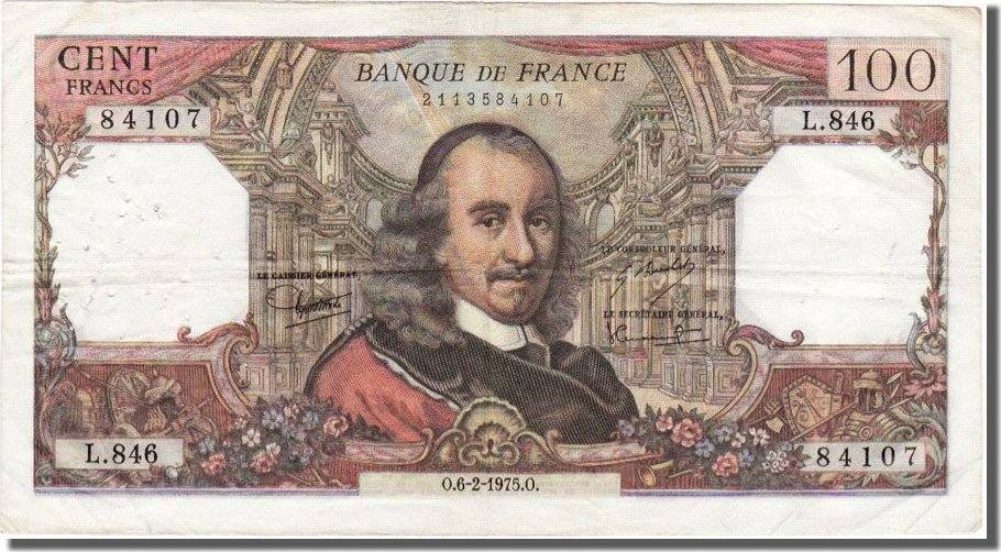 100 Francs 1975 Frankreich EF(40-45)