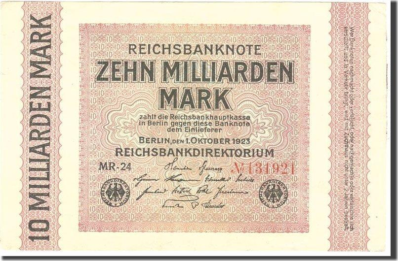 10 Milliarden Mark 1923 Deutschland KM:117b, 1923-10-01, VZ VZ