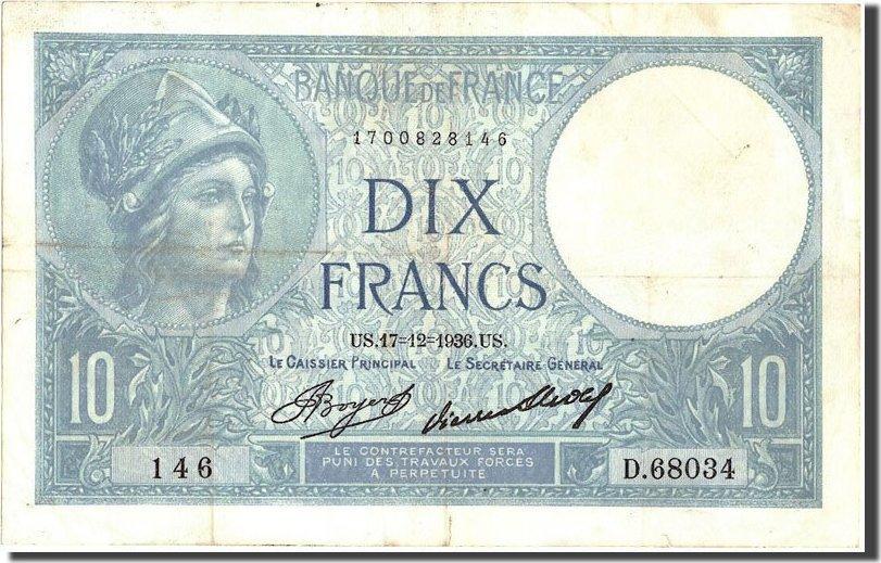 10 Francs 1936 Frankreich 10 F 1916-1942 ''Minerve'', KM:73e, 1936-12-17,... S+