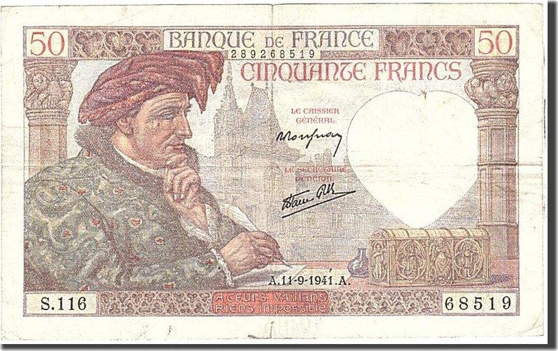 50 Francs 1941 Frankreich KM:93, 1941-09-11, SS SS