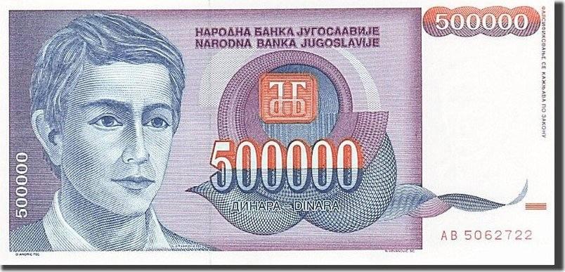 500,000 Dinara 1993 Jugoslawien 1993, KM:119, UNZ- UNZ-