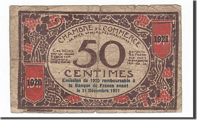 50 Centimes 1920 Frankreich Nice, SGE+, Pirot:91-6 SGE+