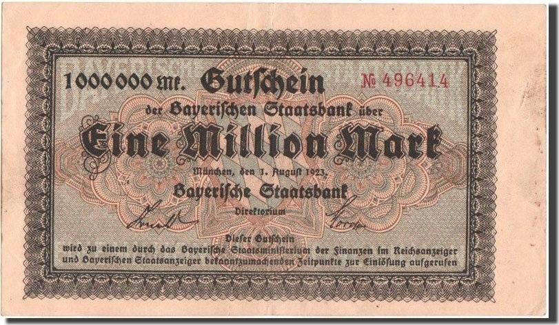 1 Million Mark 1923 Deutschland Munich, Bayerische Staatsbank, Munich SS
