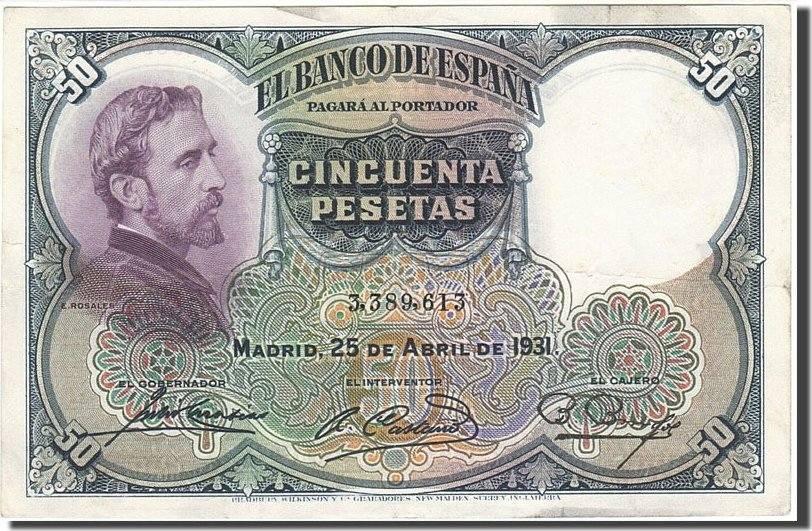 50 Pesetas 1931 Spanien KM:82, 1931-04-25, SS SS