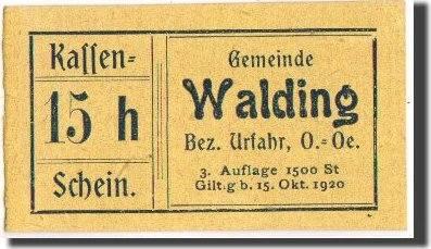 15 Heller 1920-10-15 Österreich Walding, Notgeld, Pick UNL, UNZ UNZ