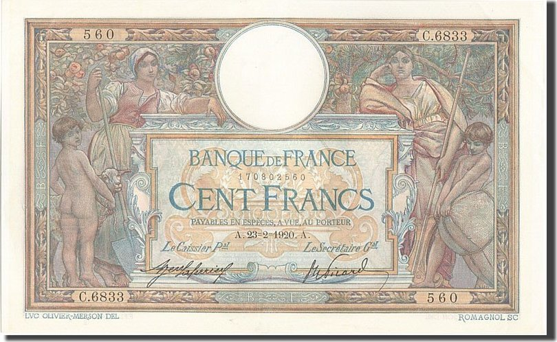100 Francs 1920 Frankreich AU(55-58)