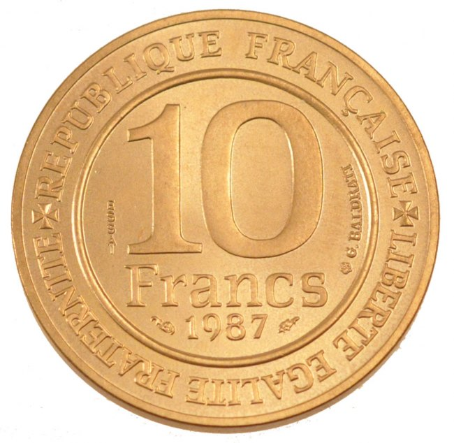 10 Francs 1987 Frankreich FRANCE, KM #E136, Nickel-Bronze, Gadoury #820, 10.00 STGL