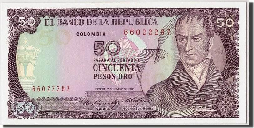 50 Pesos Oro 1985 Kolumbien UNC(65-70)