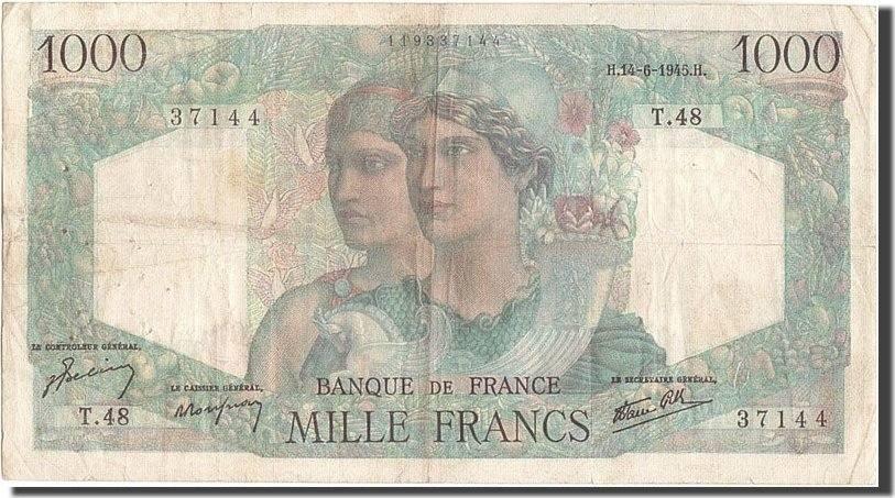 1000 Francs 1945 Frankreich 1 000 F 1945-1950 ''Minerve et Hercule'', KM:1... S