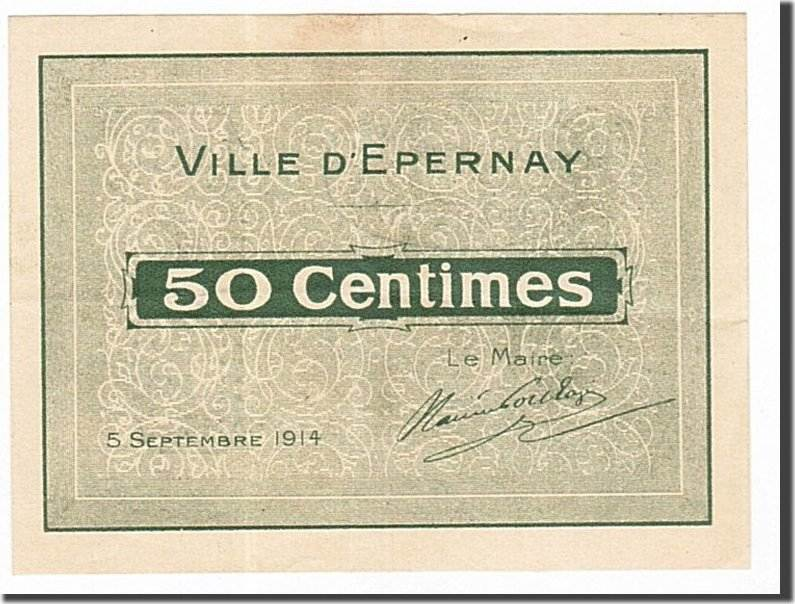 50 Centimes 1914 Frankreich Epernay, SS+, Pirot:51-15 SS+