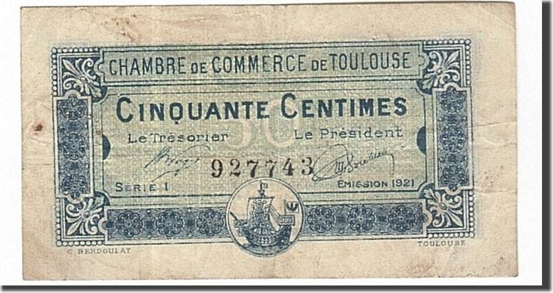 50 Centimes 1920 Frankreich Toulouse, SS, Pirot:122-39 SS