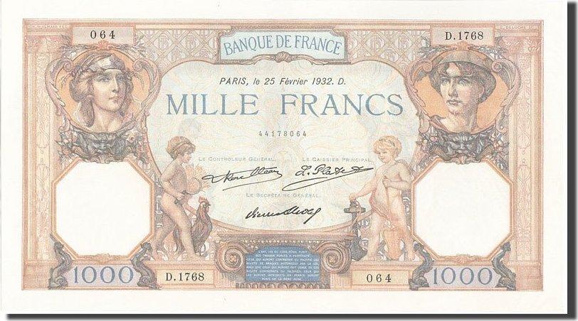 1000 Francs 1932 Frankreich UNC(60-62)