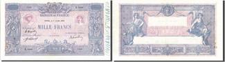 1000 Francs 1919 Frankreich 1 000 F 1889-1926 ''Bleu et Rose'', KM:67h SS+