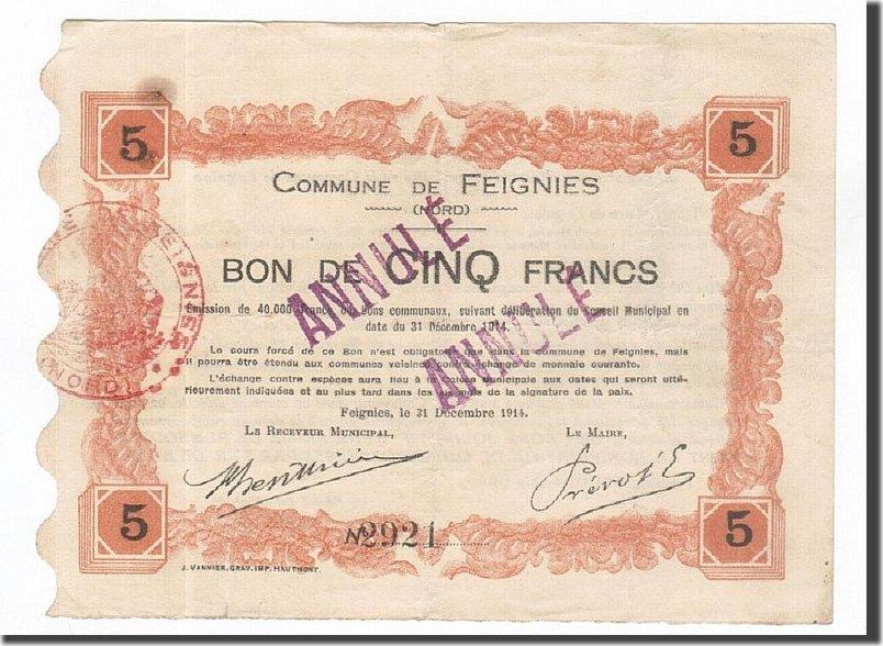 5 Francs 1914 Frankreich Feignies, SS, ANNULE, Pirot:59-927 SS