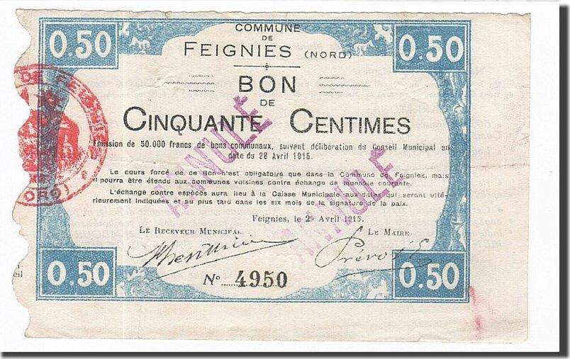 50 Centimes 1915 Frankreich Feignies, SS, ANNULE, Pirot:59-934 SS