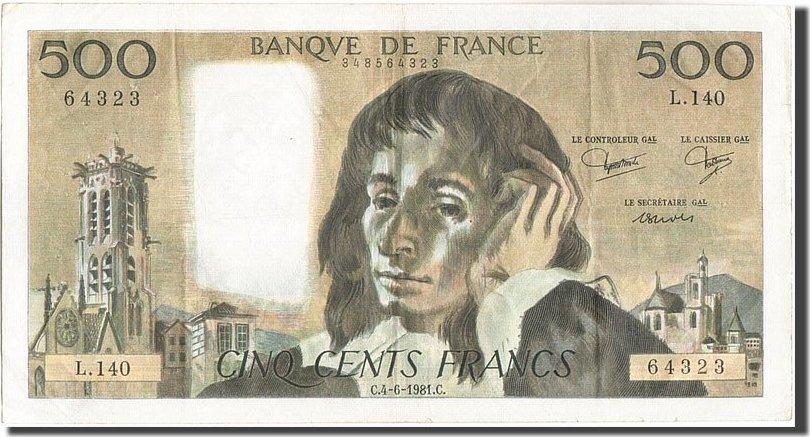 500 Francs 1981 Frankreich 500 F 1968-1993 ''Pascal'', KM:156e, 1981-06-04... SS
