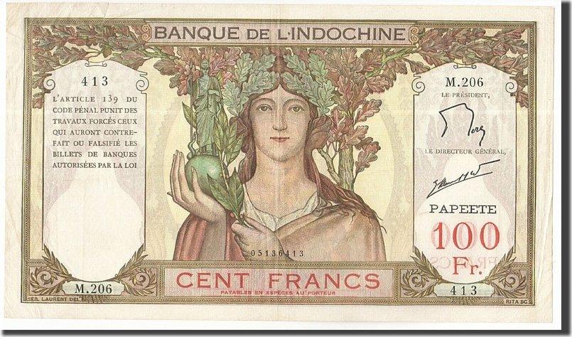 100 Francs 1961-1965 Tahiti EF(40-45)