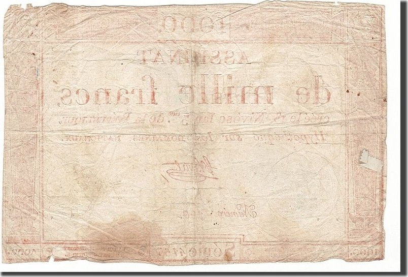 1000 Francs 1795 Frankreich VF(20-25)