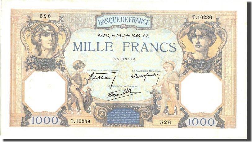 1000 Francs 1940 Frankreich 1 000 F 1927-1940 ''Cérès et Mercure'', KM:9... VZ+
