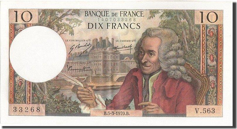 10 Francs 1970 Frankreich 10 F 1963-1973 ''Voltaire'', KM:147c, 1970-03-05... UNZ-