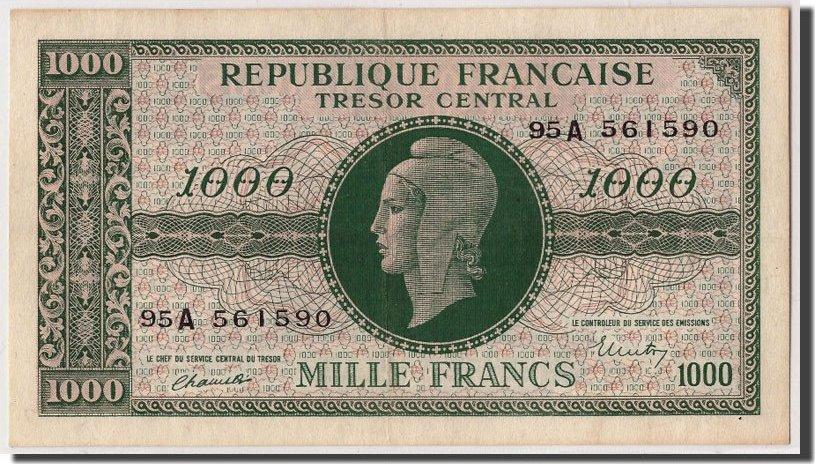 1000 Francs undated (1945) Frankreich UNC(60-62)