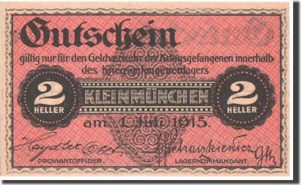 2 Heller 1.7.1915 Österreich Lagergeld, Kleinmunchen, Notgeld, Pick UNL UNZ-