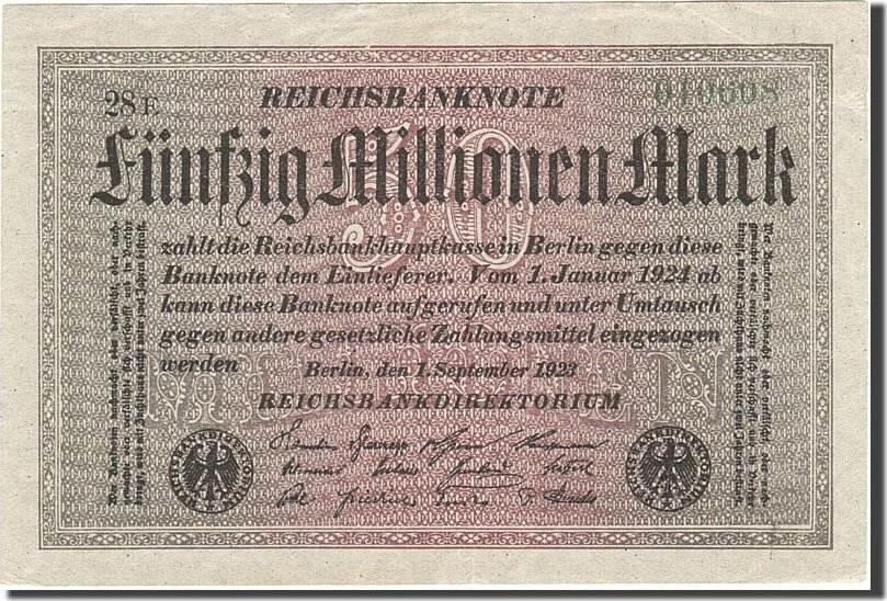 50 Millionen Mark 1923 Deutschland KM:109a, 1923-09-01, VZ+ VZ+