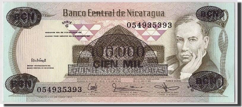 100,000 Córdobas on 500 Córdobas D.1987 Nicaragua Undated, KM:149, UNZ UNZ