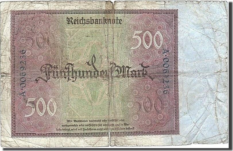 500 Mark 1922 Deutschland VG(8-10)
