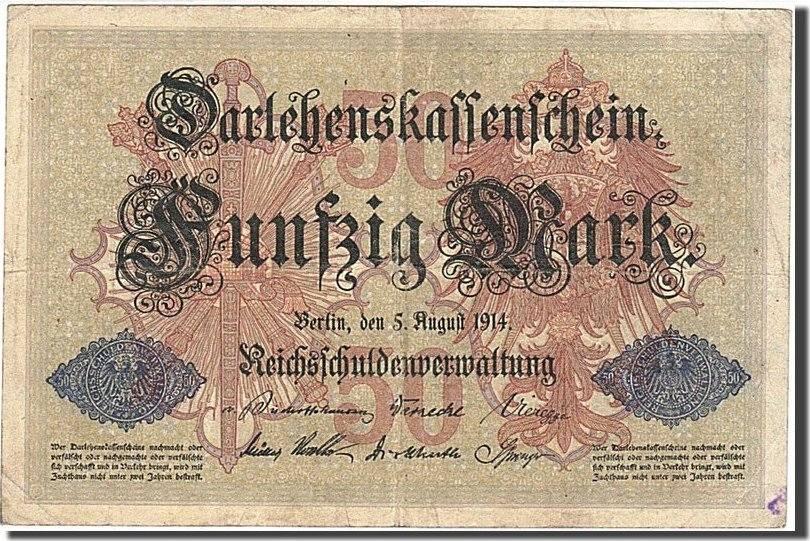 50 Mark 1914 Deutschland KM:49b, 1914-08-05, S+ S+