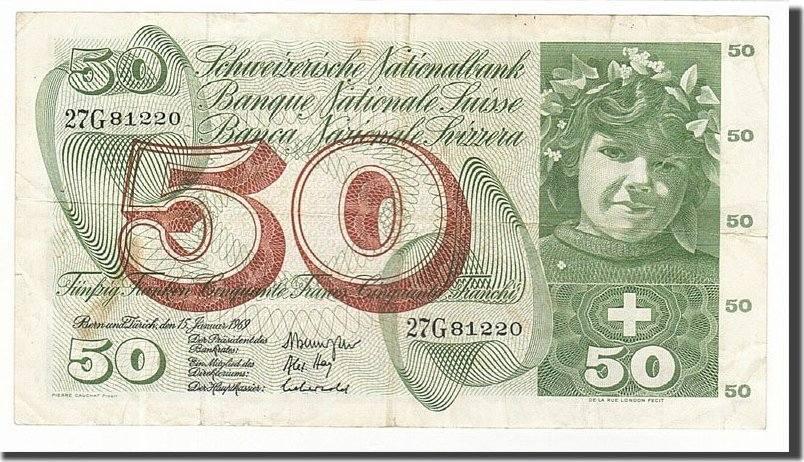 50 Franken 1961-74 Schweiz VF(30-35)