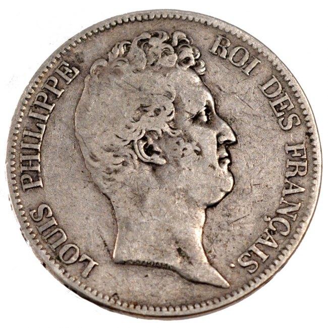 5 Francs 1830 B Frankreich Louis-Philippe VG(8-10)