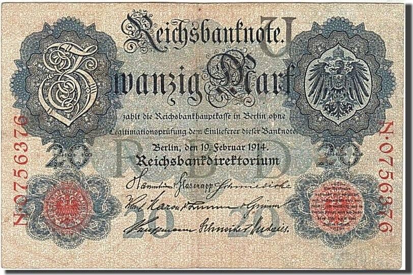 20 Mark 1914 Deutschland KM:46b, 1914-02-19, S S