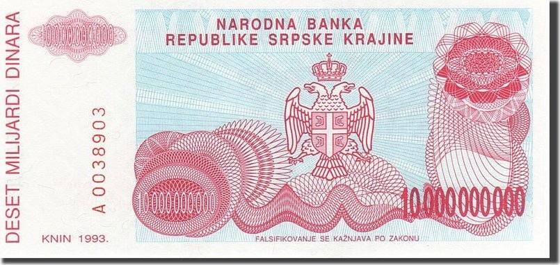 10 Milliard Dinara 1993 Kroatien KM:R28a, UNZ UNZ
