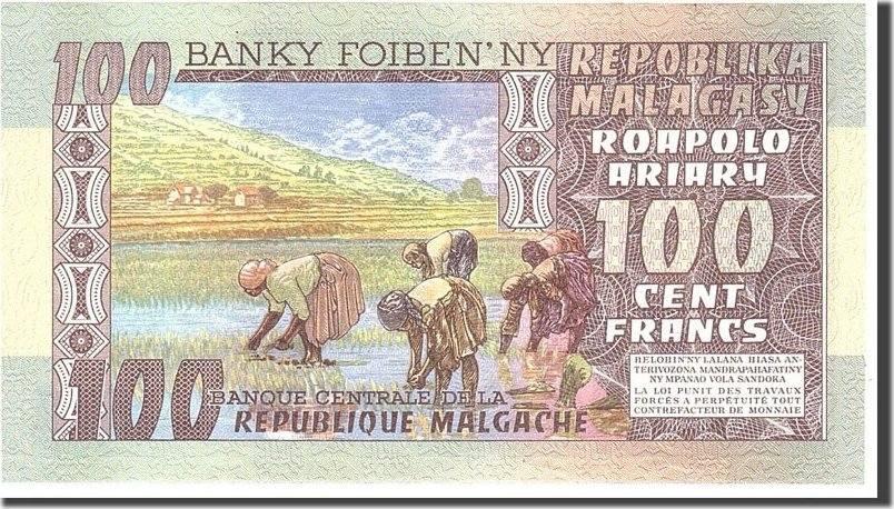 100 Francs = 20 Ariary 1974 Madagascar UNC(65-70)