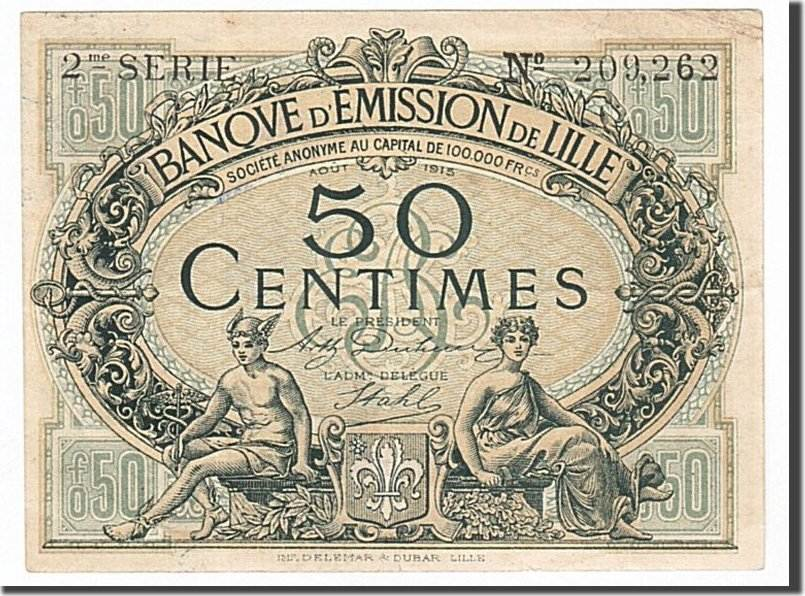 50 Centimes 1915 Frankreich Lille, SS+, Pirot:59-1599 SS+