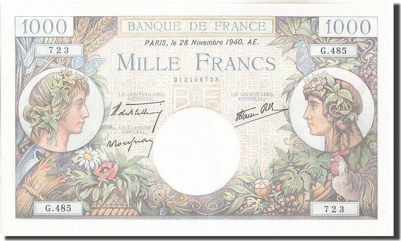 1000 Francs 1940 Frankreich 1 000 F 1940-1944 ''Commerce et Industrie'', K... UNZ