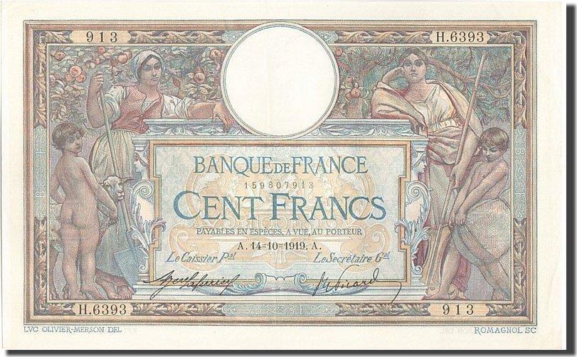 100 Francs 1919 Frankreich AU(55-58)