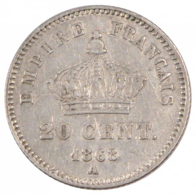 20 Centimes 1868 A Frankreich FRANCE, Napoléon III, Paris, KM #808.1, Silver, G. SS+