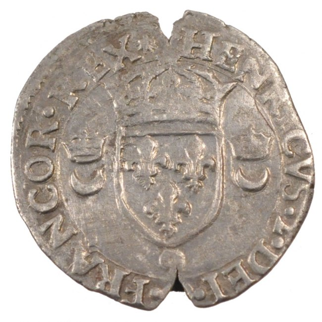 Douzain aux croissants 1557 Rennes Frankreich 1547-1559 Henri II EF(40-45)