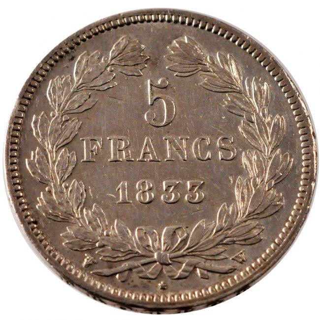 5 Francs 1833 W Frankreich Louis-Philippe AU(50-53)