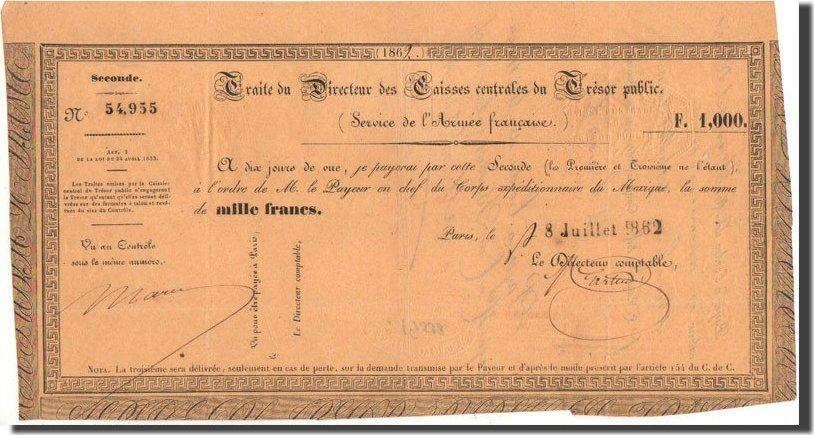 1000 Francs 1862 Mexiko Traite, 8.7.1862, Kolsky 11 VZ