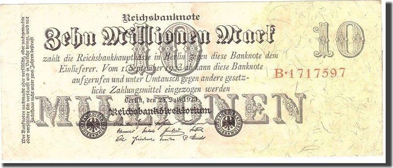10 Millionen Mark 1923 Deutschland KM:96, 1923-07-25, SS SS