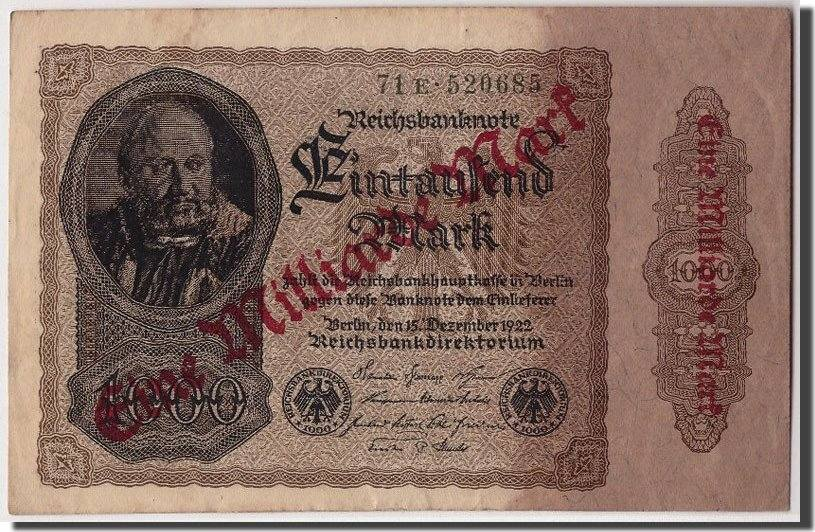 1 Milliarde Mark on 1000 Mark Undated (9-1923) Deutschland KM:113a, 1922-1... SS+